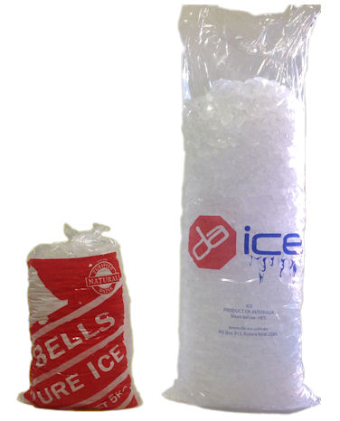 Our ice vending machine ice, versus traditional packaged ice!
